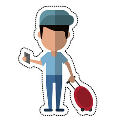 Cartoon man traveling passport dragging luggage vector