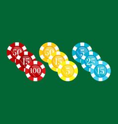 Casino poker chip for risk game in vegas lucky vector