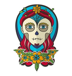 Day of dead skull girl with marigold vector