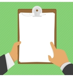 Empty clipboard in hands vector image vector image