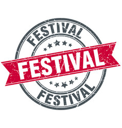 Festival round grunge ribbon stamp vector