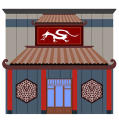Front view of a chinese restaurant vector