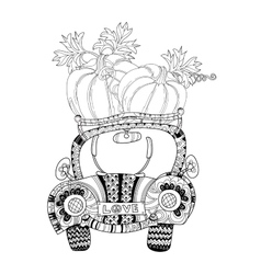 Hand drawn doodle outline farm car vector