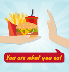 hand giving junk eating food choice concept you vector image