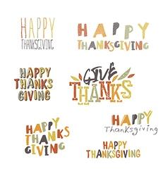 Happy Thanksgiving logotypes set vector image vector image