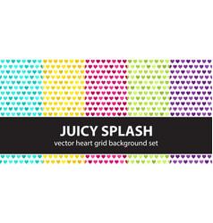 Heart pattern set juicy splash seamless vector