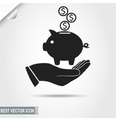 Higgy Bank with coins on the human Hand - vector image vector image