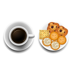 Hot coffee and cookies on plate vector
