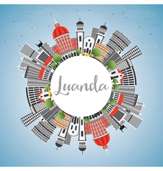 Luanda skyline with gray buildings vector