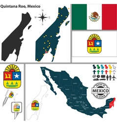 Map of Quintana Roo vector image vector image