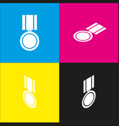 Medal sign white icon with vector
