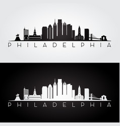 philadelphia usa skyline and landmarks silhouette vector image