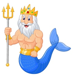 Poseidon cartoon vector image