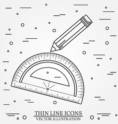 Protractor and pencil icon vector image