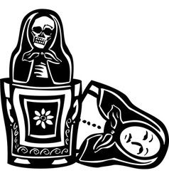 Russian Doll Death Inside vector image vector image