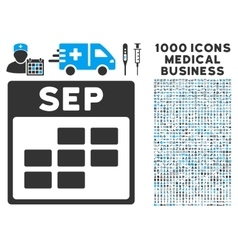 September calendar grid icon with 1000 medical vector