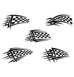 Set of checker racing flags vector image vector image