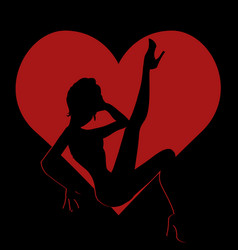 shadow silhouette of hot girl in red heart vector image vector image