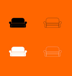 sofa black and white set icon vector image vector image