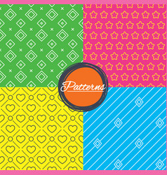 Stars hearts and rhombus seamless textures vector