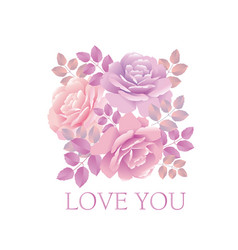 tender color pink rose bouquet elegant design vector image