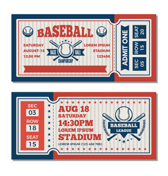 tickets design template at baseball tournament vector image
