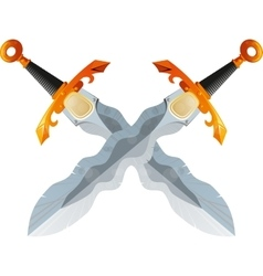 Two Crossed Flamberg Swords vector image