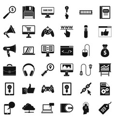 Web mobile icons set simple style vector