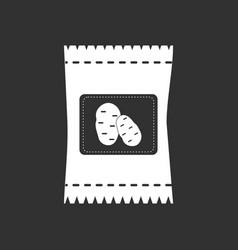 White icon on black background potato seeds vector