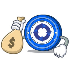 with money bag cryptonex coin character cartoon vector image