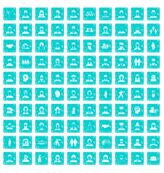 100 people icons set grunge blue vector