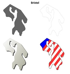 Bristol map icon set vector