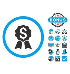 Banking award flat icon with bonus vector