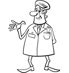 Medic doctor black and white cartoon vector