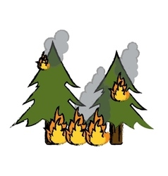 Drawing wildfire destroys pines smock vector