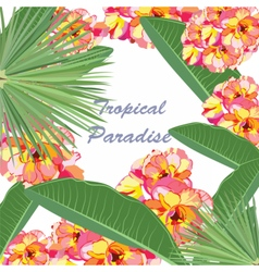 Watercolor tropical floral paradise card vector