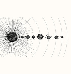 solar system in dotwork style planets in orbit vector image