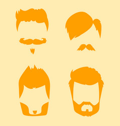 Set of hipster retro hair style mustache vector