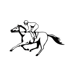 Horse and jockey racing retro vector