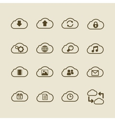 Generic cloud computing iconset contour flat vector