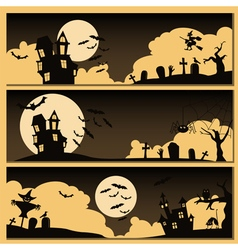 Set of halloween banner holiday design vector