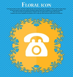 Retro telephone floral flat design on a blue vector