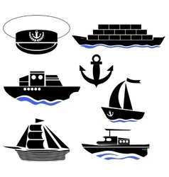 Sea ships silhouettes anchor icon captain hat vector