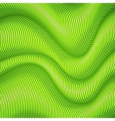Green striped waves 3d abstract background vector image