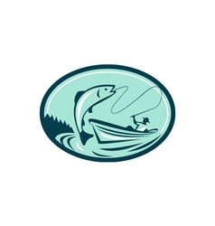 Fly fisherman boat reeling trout retro vector