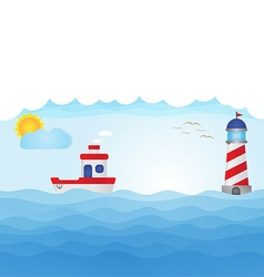 Fishing boat on blue ocean vector