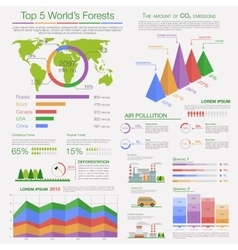 Air pollution and deforestation infographics vector