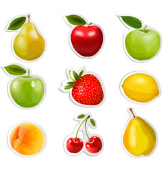 Collection of fruit stickers vector