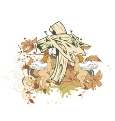 angel with floral and cross vector image