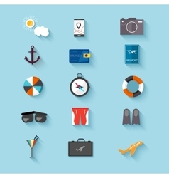 Flat design icons set of traveling on airplane vector